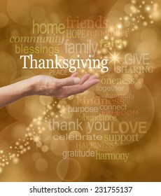Celebrate Thanksgiving - Golden bokeh and graffiti background with a string of glittery sparkles and a female hand outstretched with a white 'Thanksgiving' word floating above