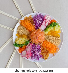 Celebrated on the seventh day of chinese new year for good fortune / Prosperity Toss / All fresh and natural ingredients and own recipe,eaten raw with smoked salmon in chili lime dressing