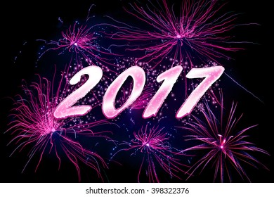 Celebrating the 2017 new year with violet fireworkds