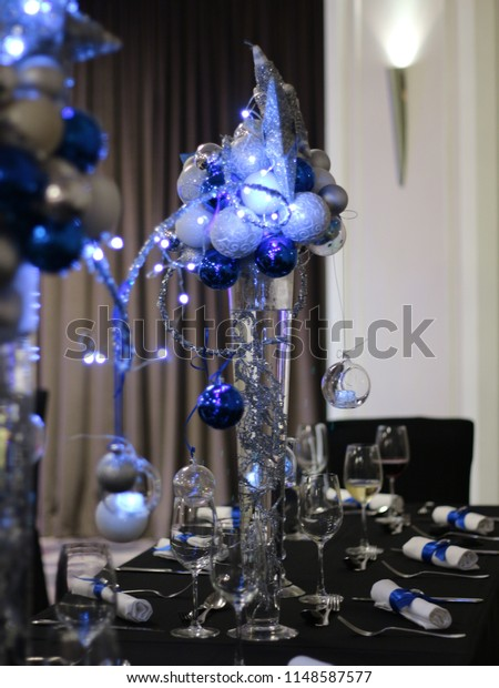 Celebrating Christmas Asia Blue Christmas Table Stock Photo Edit