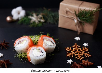 celebrating christmas or new year at restaurant, festive dinner, sushi,  japanese cuisine, food delivery