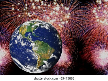 Celebrating a happy new year around the earth. High resolution earth image courtesy of NASA