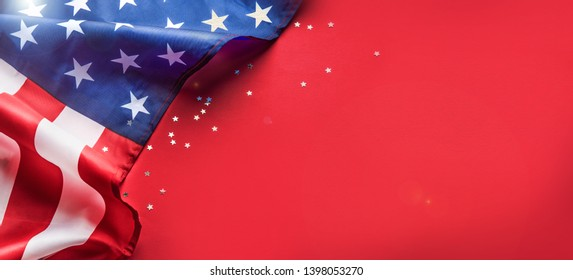 Celebrating Independence Day. United States of America USA flag background for 4th of July. Copyspace