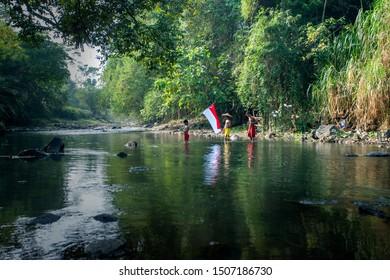 Celebrating Indonesia Independence day at the village in Bogor west java Indonesia. 04 08 2019