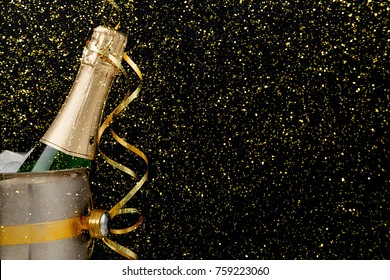 celebrating new year birthday xmas party bottle of champagne in a bucket and