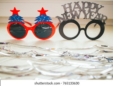 Celebrating new year, xmas party. funny style background on white .  , copy space.