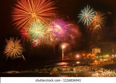celebrating night de San Juan, popular summer holiday in Puerto de la Cruz, Tenerife island, Spain