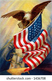 Celebrating ''Old Glory'', our American flag -  a circa 1912 vintage illustration of bald eagle and American flag