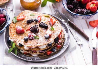 Celebrating Pancake Day with crepes, with fruits
