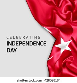 Celebrating Turkey Independence Day. Abstract waving flag on Gray background