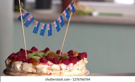 Celebrating Waitangi day in New Zealand. Pavlova dessert