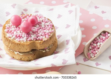 celebration the birth of a daughter with Dutch crispy biscuit with pink sugared aniseed balls, muisjes