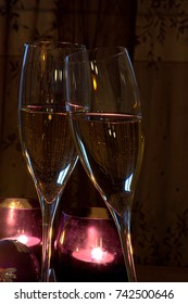 Celebration Christmas and New year with two glasses of champagne