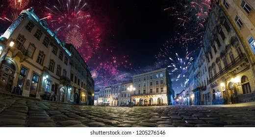 Celebration City background with Fireworks. Empty night plaza, old architecture. Festival