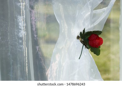 Celebration decor at the window. Wedding room behind window in garden is spring.