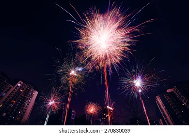celebration of fireworks display at evening in china