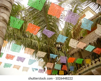 Celebration Flags over Street in Puerto Vallarta Mexico