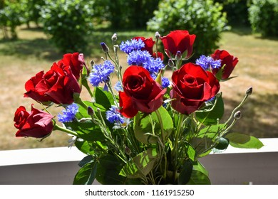 Celebration flower bouquet with red roses and blue cornflowers