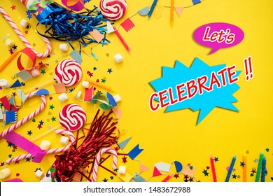Celebration free from image celebration party , The wonderful celebration festival Let's celebrate banner. Vector lettering Template design for cards, board, vinyl poster, bill board layout.