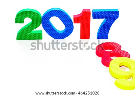 celebration and happy new year 2017 with colorful symbol number isolated on white backgroundfocus