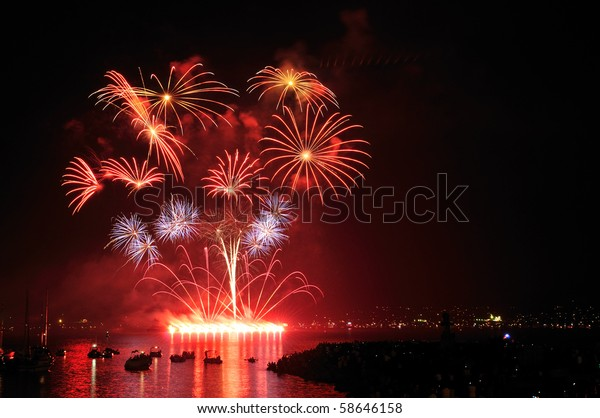 Celebration of Lights, fireworks display at English Bay, Vancouver, BC