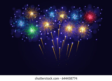 Celebration multicolored sparkling fireworks. 4th of July Independence Day, New Year holidays background.