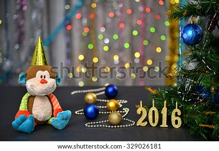 celebration new year card with monkey numbers candles new year tree and decorations