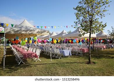 Celebration outdoor party concept  in the garden