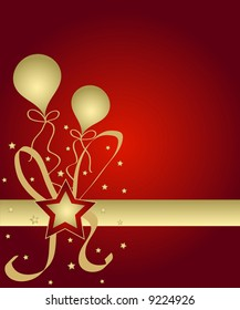 Celebration stars and balloons in red and golden colors