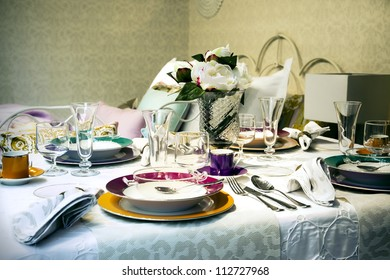 celebration still life with table dishware