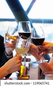 Celebration with wine glasses