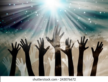 Celebration.Hands reaching in the sky with stars background