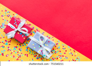 Celebration,party backgrounds concepts ideas with colorful gift box present in dot pattern design with confetti.Flat lay design template