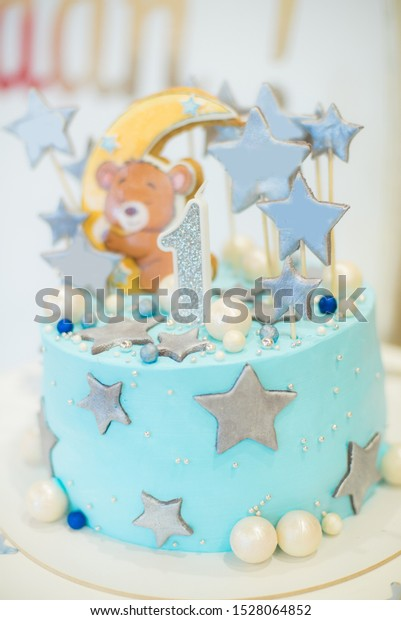 Groovy Celebratory Cake Baby First Birthday Blue Stock Photo Edit Now Birthday Cards Printable Trancafe Filternl
