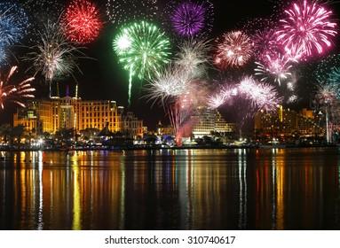 Celebratory fireworks at coast of Eilat (Red sea. Israel)