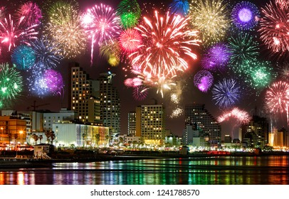 Celebratory fireworks at coast of Tel Aviv. Mediterranean Sea. Israel