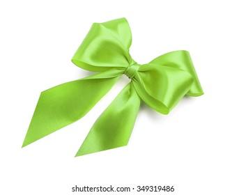Celebratory green bow on a white background.
