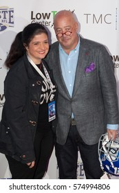 Celebrity Chef Alex Guarnaschelli (L) and Andrew Zimmern  attends the 26th annual Taste of the NFL Party with a Purpose at the University of Houston on February 4th 2016 - USA