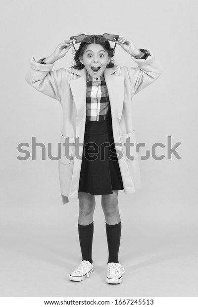 Celebrity child. Star concept. Fame and popularity. Cheerful girl wear eyeglasses. Cool kid celebrity. Popular schoolgirl. Carnival costume famous celebrity. Dreaming about fame. Become popular.