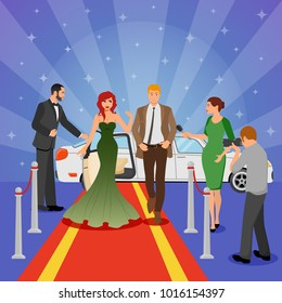 Celebrity design composition with young woman in evening dress on red carpet white limousine and interviewing journalists flat  illustration