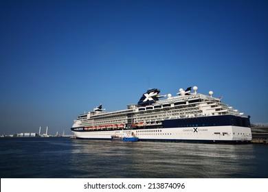 Celebrity Millennium - YOKOHAMA, JAPAN - MAY 5, 2014 Celebrity Millennium is the flagship of the Millennium-class cruise ships, operated by Celebrity Cruises line.