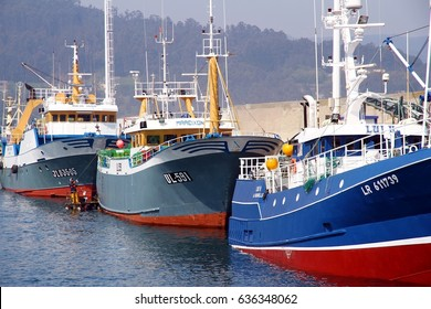 CELEIRO, SPAIN – APRIL 24: Trawler fishing boat docked in the port of Celeiro in Spain; on april 24, 2017 in Alicante.