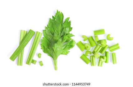 celery isolated on white background. top view