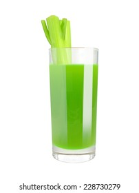 celery juice in a glass on a white background