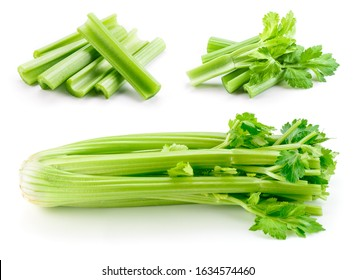 Celery stalk isolated. Celery sticks on white. Green celery with leaves. Set on white background.