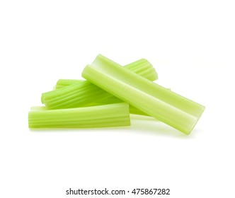 celery sticks isolated on white background