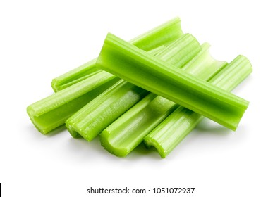 Celery sticks. Celery isolated. celery stalk on white background.