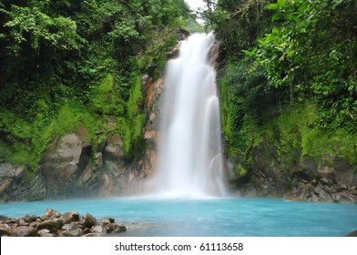 Celestial blue waterfall in Costa Rica