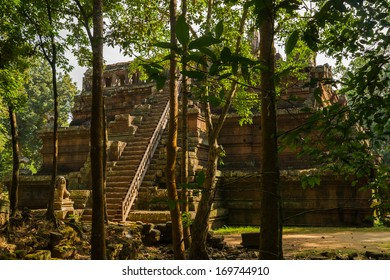 The celestial temple Phimeanakas from 11th century is part of the royal palace Angkor Thom at the cambodian Angkor Wat heritage site
