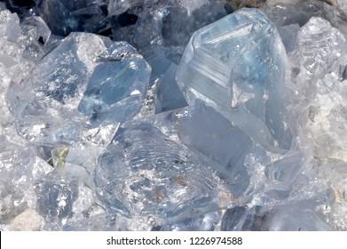 Celestine, a mineral consisting of strontium sulfate (SrSO4).